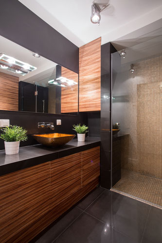 Black and brown bathroom design